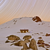 Star trails over Seaman's Hut, Kosciuszko National Park, Australia, Thredbo