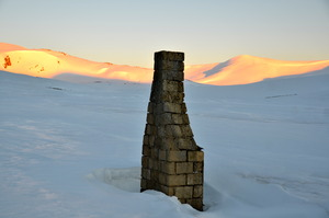 Sunrise at the Ruined Chimney near Charlotte Pass, Kosciuszko National Park, Australia photo