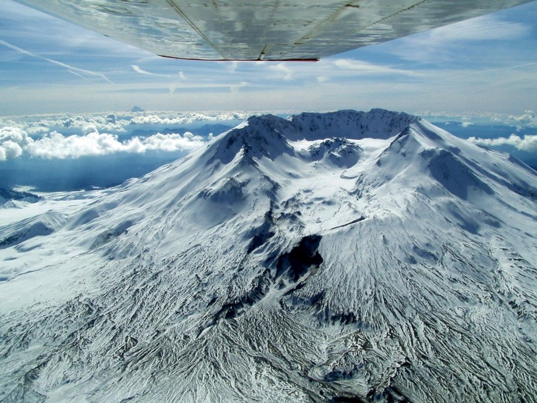 Mt St Helens before it blew 2nd Time--from our plane