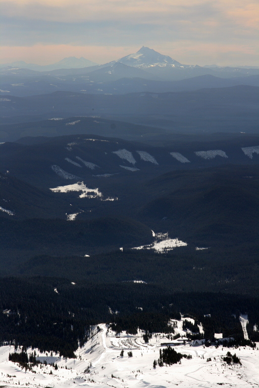 skiing down to Timberline