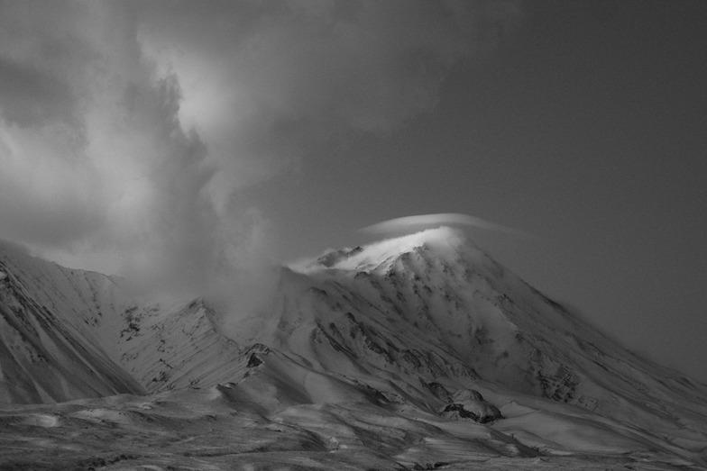 Mount Damavand from Nandal village, Shemshak