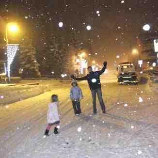 Snowy village high street, Claviere (Via Lattea)