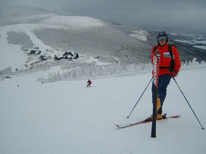 Skier on the Cervenohorske sedlo in Czech, Červenohorské Sedlo