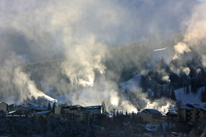 Snow making on Le Sauze ski resort, Sauze Super-Sauze photo