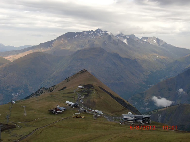 Domaine skiable de Les2Alpes et en face l'Alpe d'Huez, Les Deux Alpes