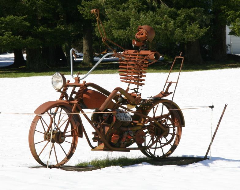 Harley skeleton--on the way to Mount Hood, Mt Hood Meadows