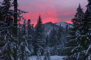 Sunset View of the largest Night Ski area in the US, Mt Hood Ski Bowl photo