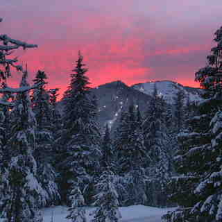 Sunset View of the largest Night Ski area in the US, Mt Hood Ski Bowl