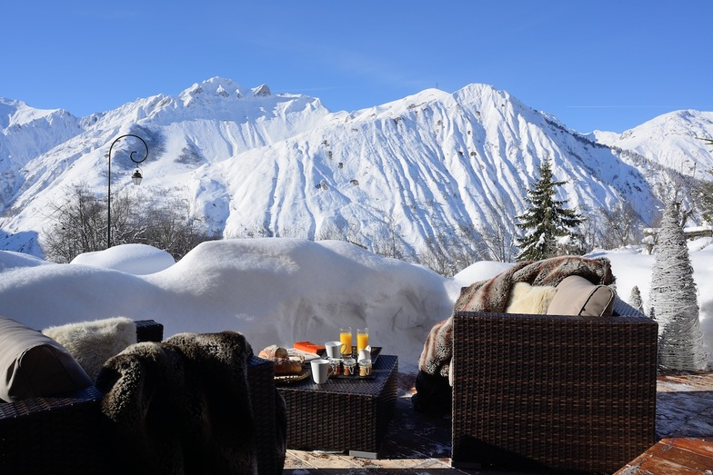 Terrace views at Chamois Lodge, St Martin de Belleville