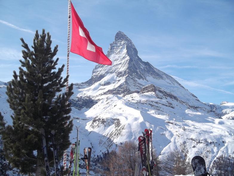 Matterhorn and Flag, Zermatt