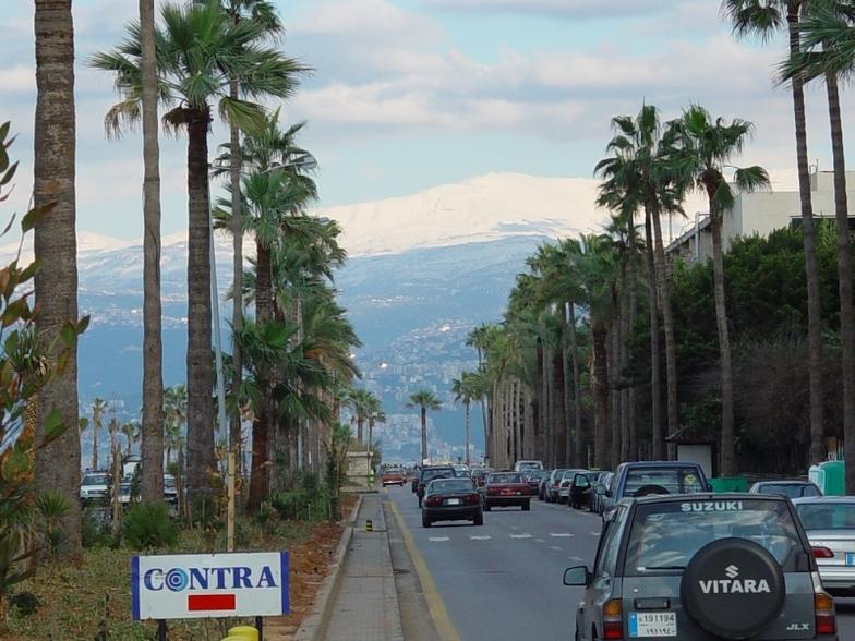 Mount Sannine, viewed from Beirut Corniche., Mzaar Ski Resort
