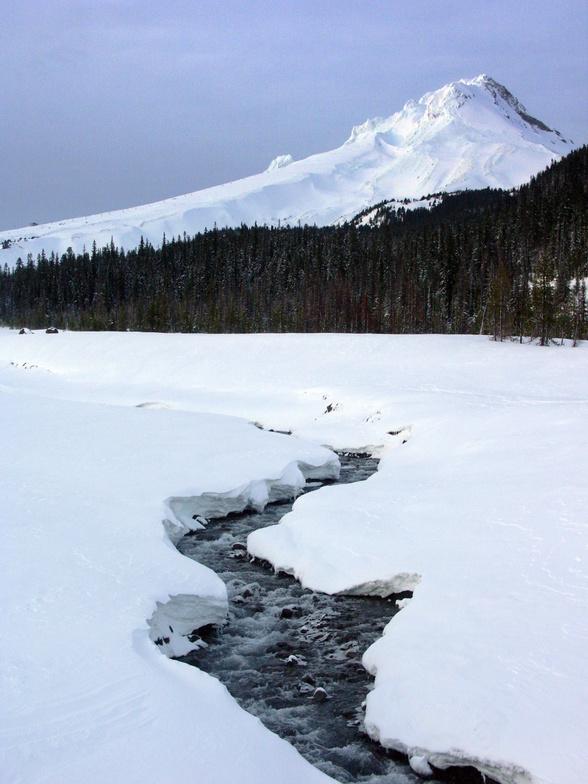 Mt.Hood frozen Glacer River, Mt Hood Meadows
