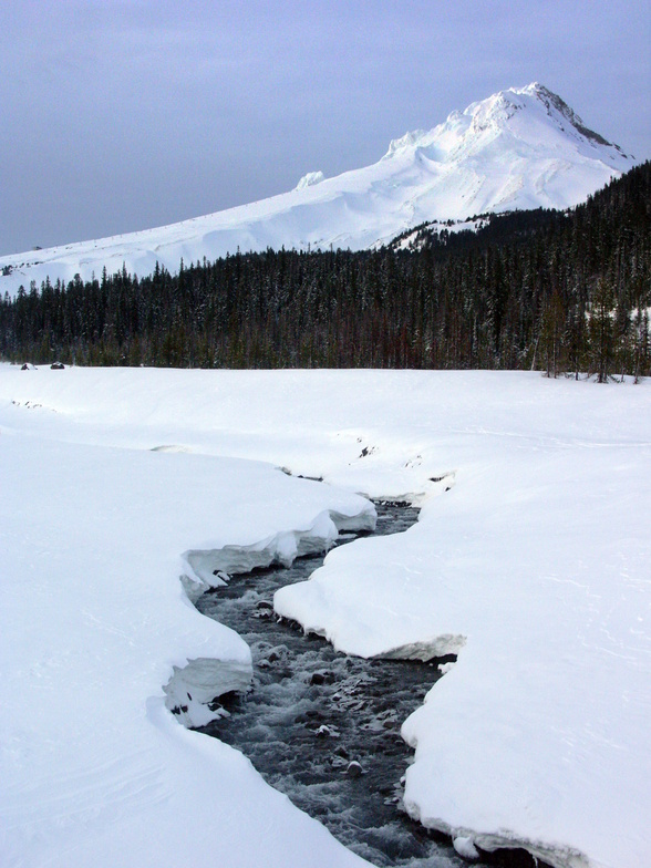 Mt.Hood frozen Glacer River, Mt Hood Meadows