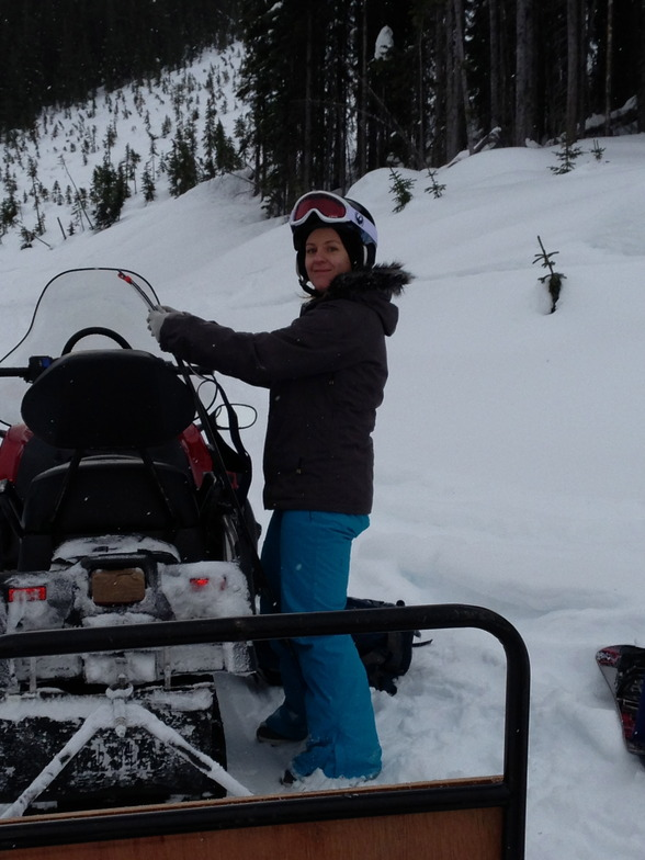 Snowmobile access ski touring in KH Country, Kicking Horse