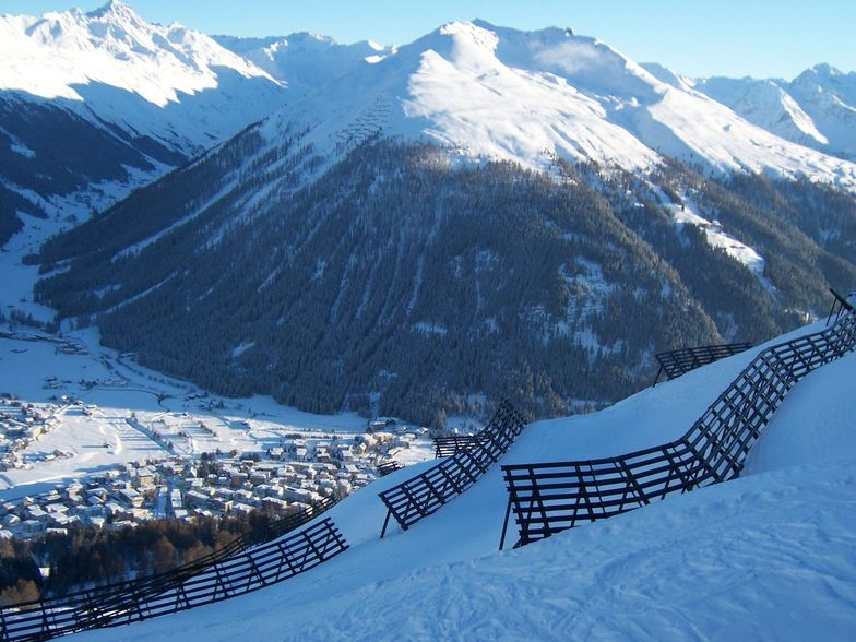 Davos seen from the avalanche barriers on Parsenn