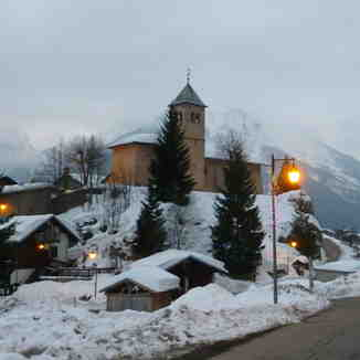 Champagny church in the evening.