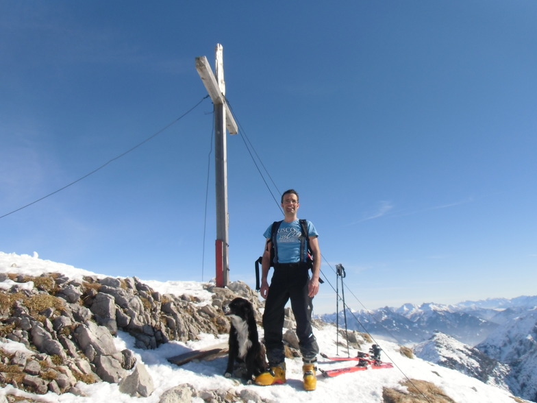 At the Top of the Brentenjoch with my dog, Pfronten/Breitenberg