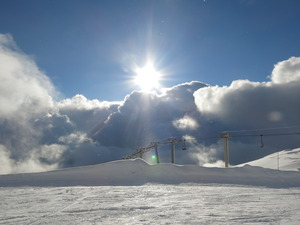 Sun, snow in Villars photo