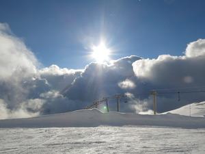 Sun, snow in Villars photo