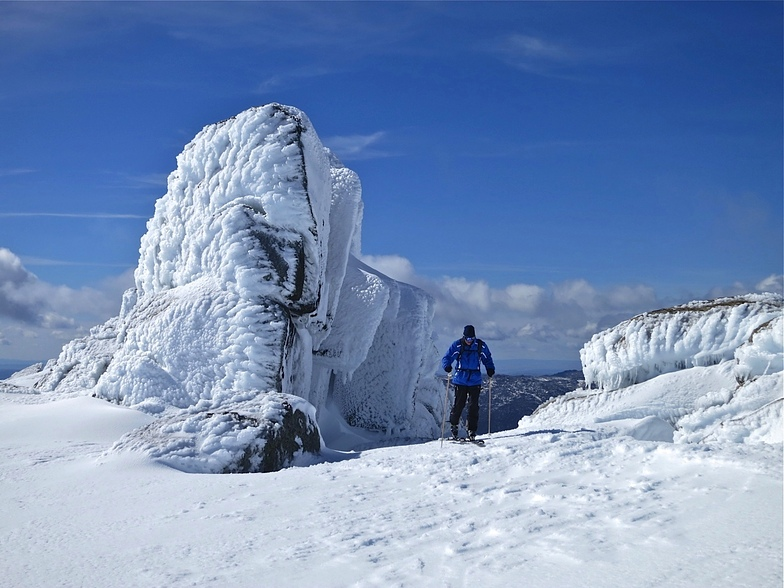 Ski Touring on Ramshead Plateau above Thredbo, Australia