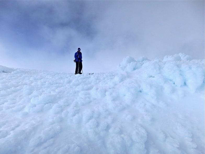 Rime ice on the summit of The Ramshead above Thredbo, Australia