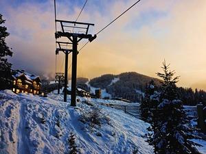 Sunset on the Village Gondola, Panorama Mountain Resort photo