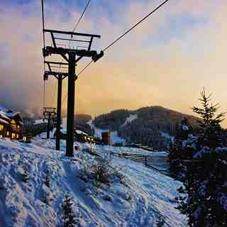 Sunset on the Village Gondola, Panorama Mountain Resort