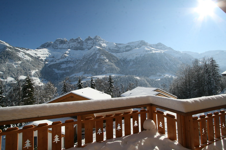 View of Dents du Midi from Chalet Les Cascades, Champéry