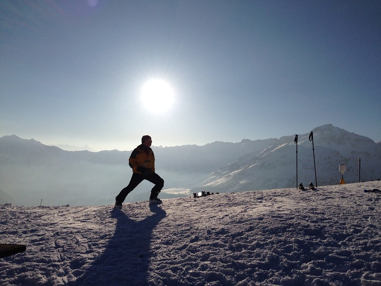 Champoluc. Belvedere. Sun Worship - and stretching after a long day.
