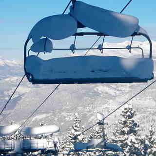 Snow laden chairlift, Méribel