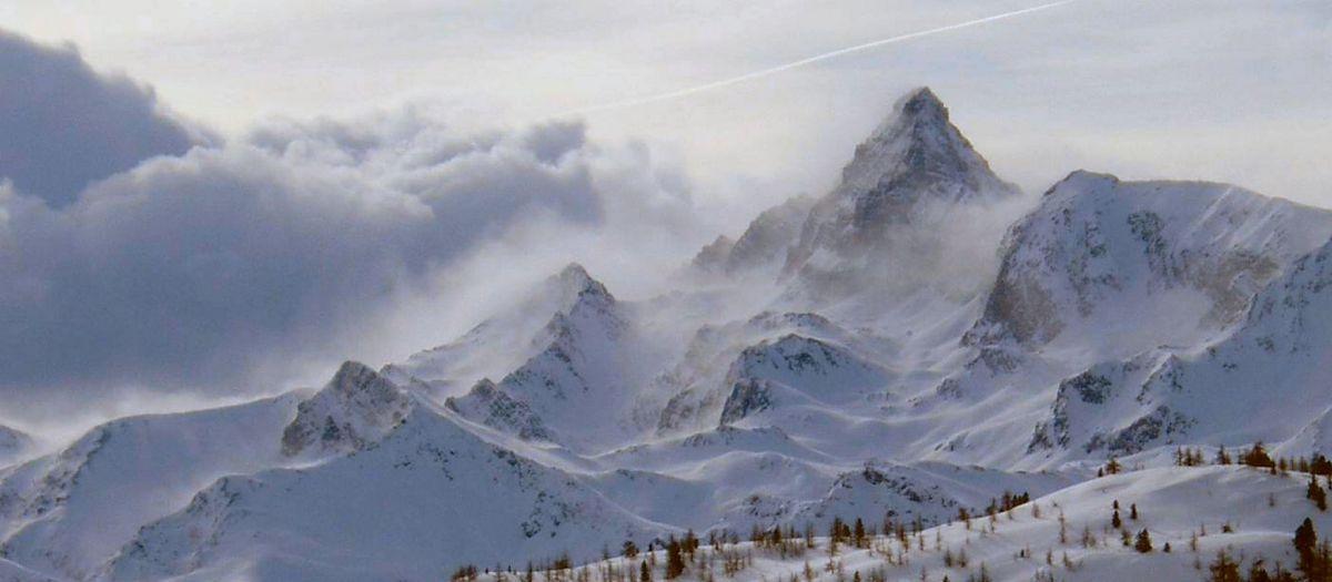 """From ski runs of """"monti della luna"""" Claviere (Italy) Pic de Rochebrune, Claviere (Via Lattea)"""
