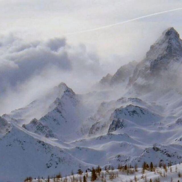 "From ski runs of ""monti della luna"" Claviere (Italy) Pic de Rochebrune, Claviere (Via Lattea)"
