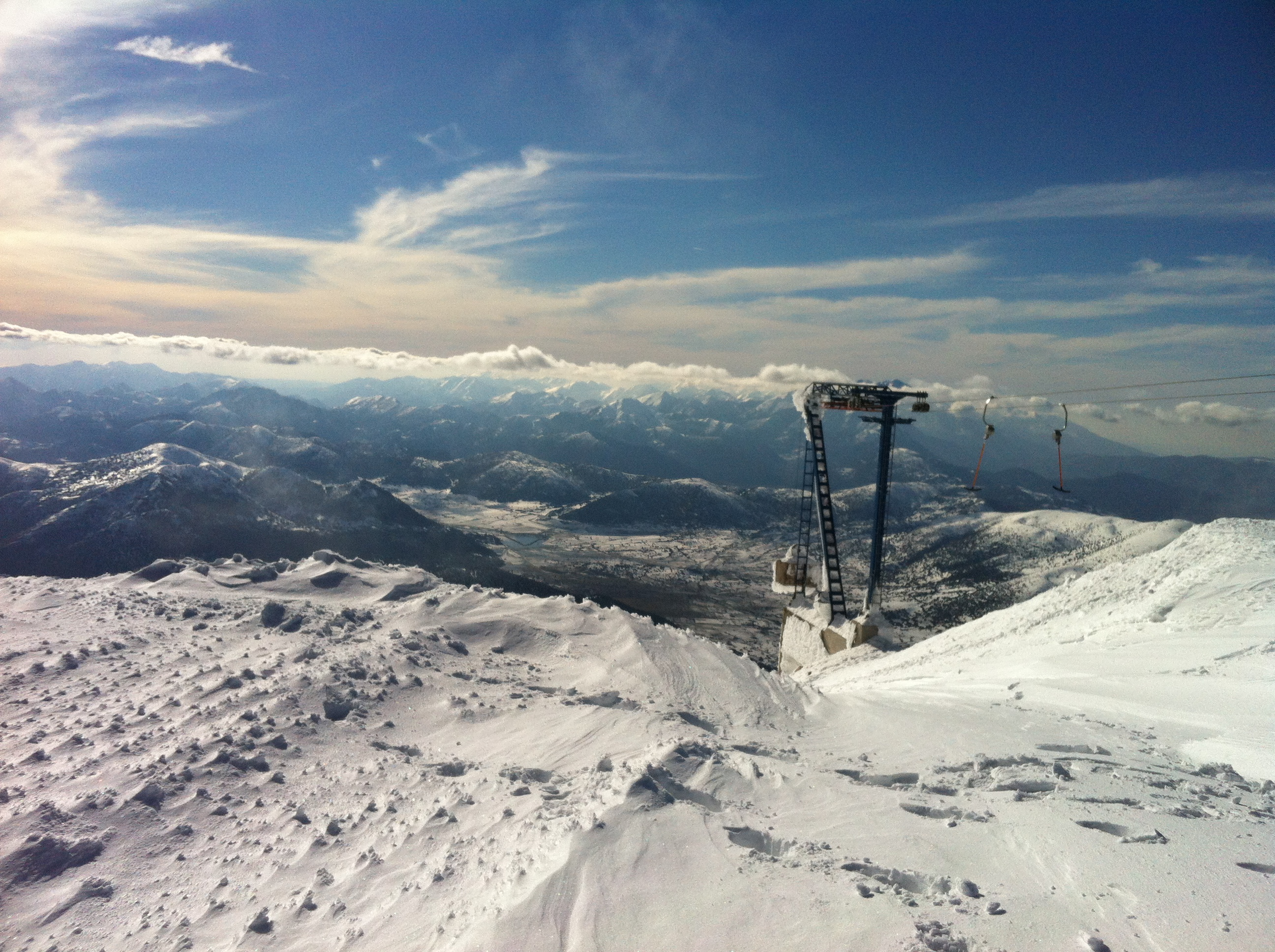 Looking west over Kalavrita from the top of the t-bar lift, Helmos, Kalavryta Ski Resort