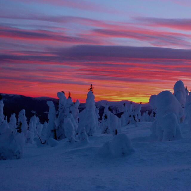 Sunset top of Azu Bowl, Powder King