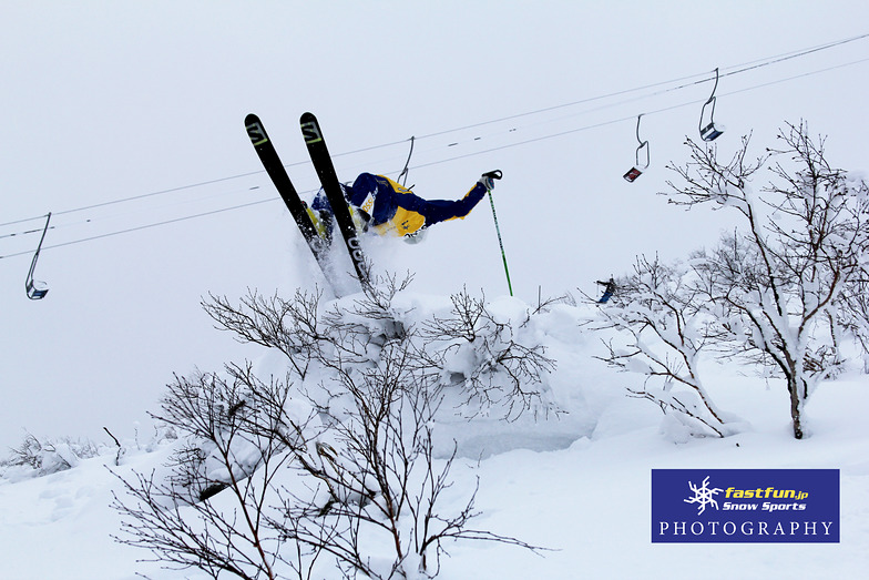 Rider Drew Nickless getting upside down on Christmas day, Niseko Grand Hirafu
