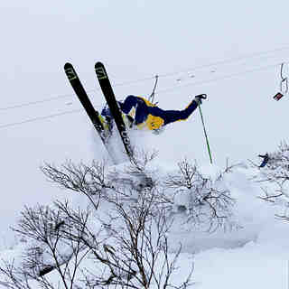 Rider Drew Nickless getting upside down on Christmas day, Niseko Hirafu