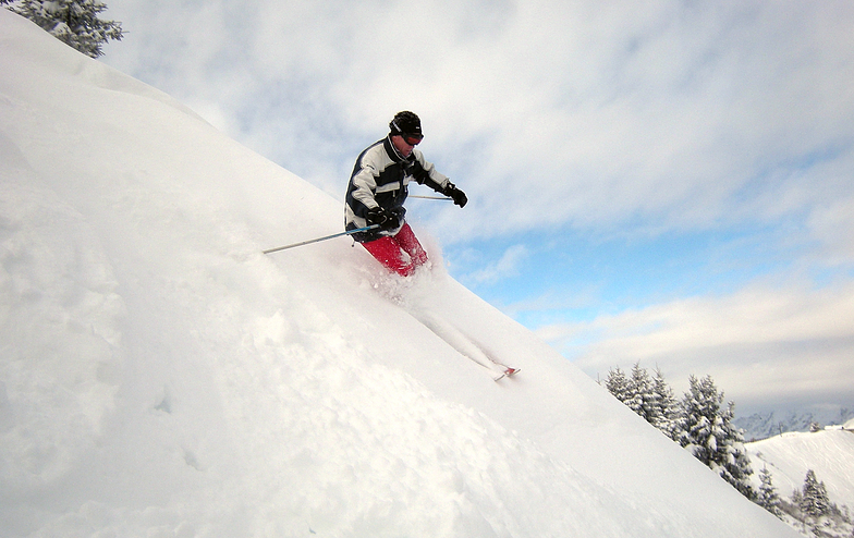Jamie in some of the best powder of the season so far, Saint Gervais