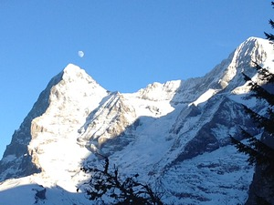 eiger and moon at noon, Mürren photo