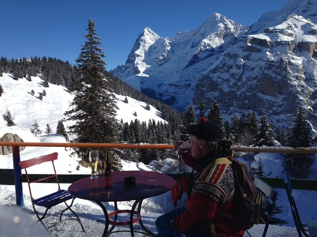 scotsman being refreshed with great view, Mürren