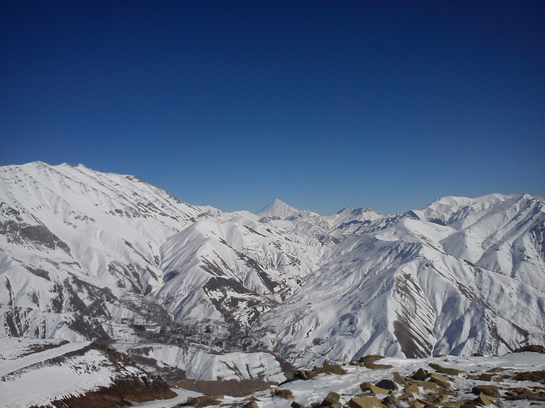 Darbandsar(View of Mount Damavand of cabin station Darbandsar)