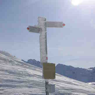 A frozen sign post in Austria near Gargellen , the next valley from Davos
