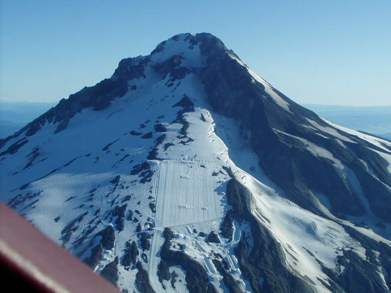 Palmer Glacier, Mount Hood from air, Timberline