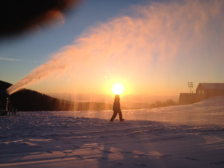 Snow-making sunrise, Grouse Mountain