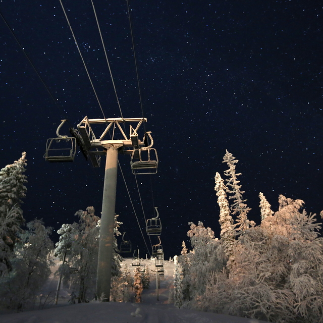 Pyha at Night, Pyhä Ski Resort