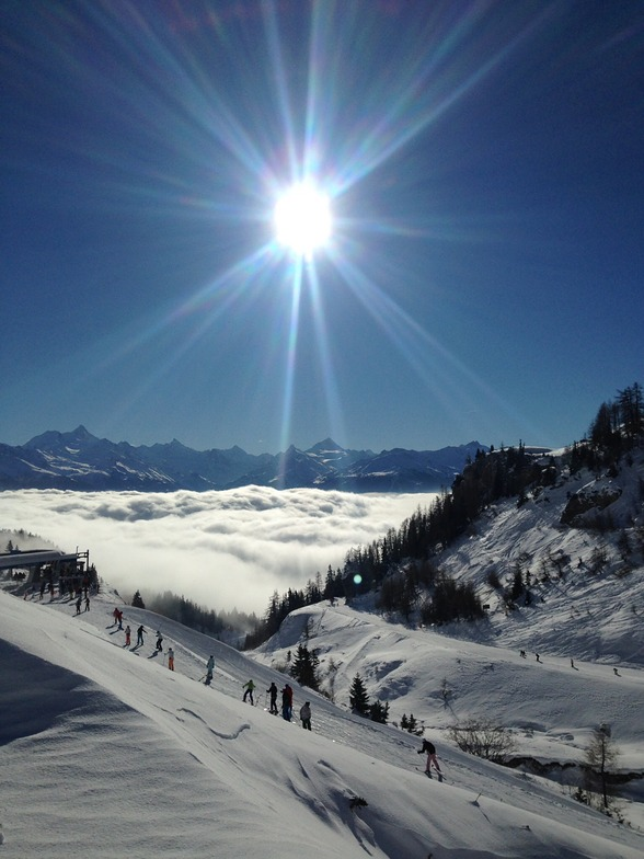 Great day skiing, Crans Montana