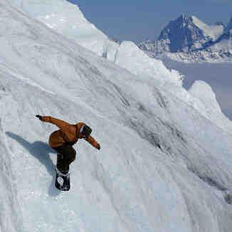 Glacier sliding, Mt Elbrus