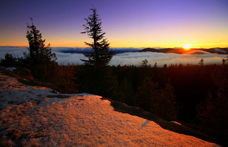 Sunset over Cascades--from Mt Hood, Mt Hood Meadows