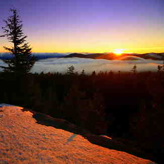 Sunset over Cascades--from Mt Hood, Mt Hood Meadows