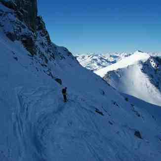 Tony on Diretissima, the north west face of the Weissflugipfil,Parsenn above Davos