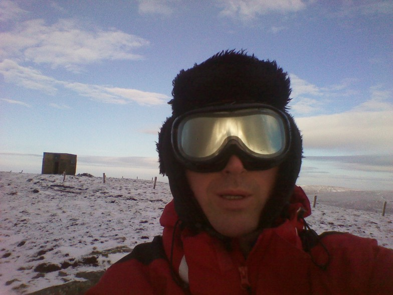 Snow-Forecast.com snow reporter on site enjoying the view from Seefin summit., Seefin (Monavullagh)